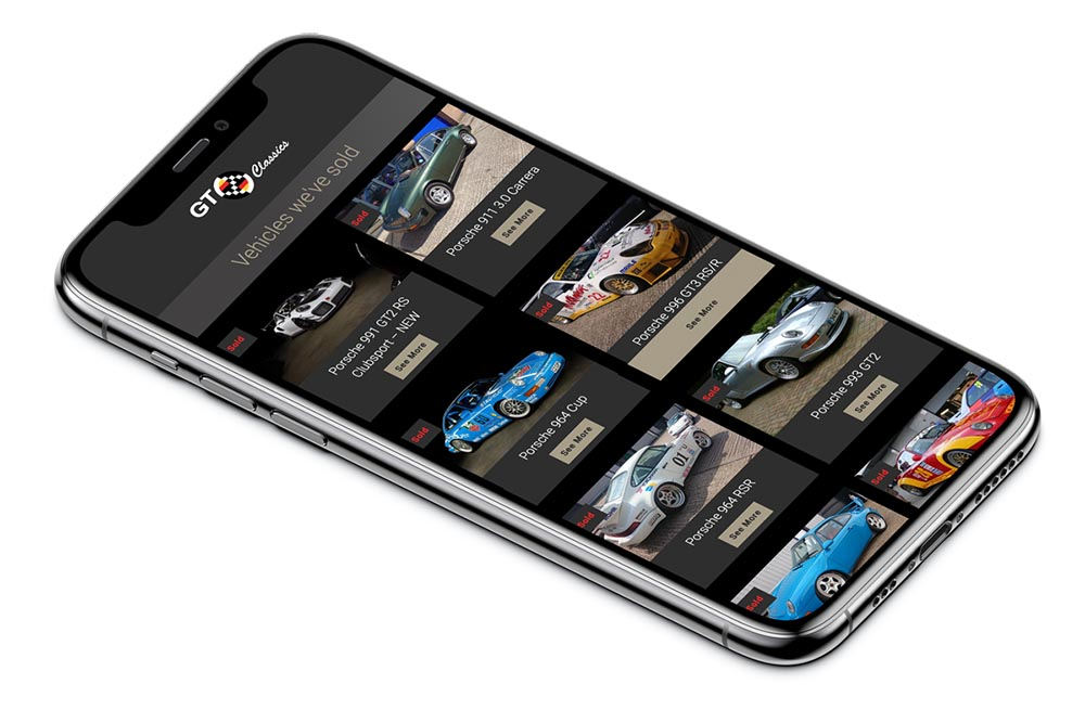 GT Classics Website on Mobile